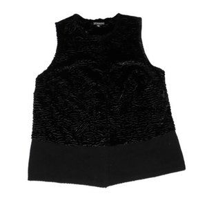 Adrianna Papell Vest Faux Fur Sweater Black